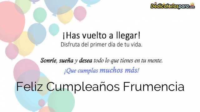 Feliz Cumpleaños Frumencia