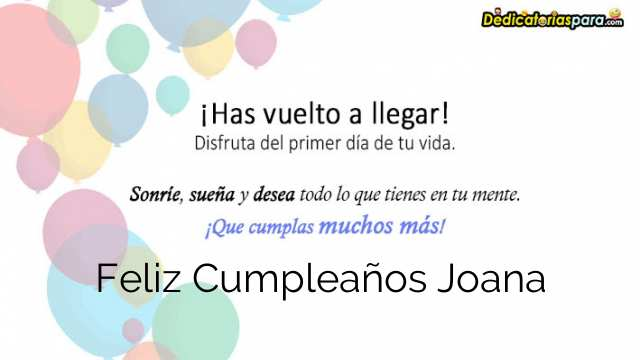 Feliz Cumpleaños Joana