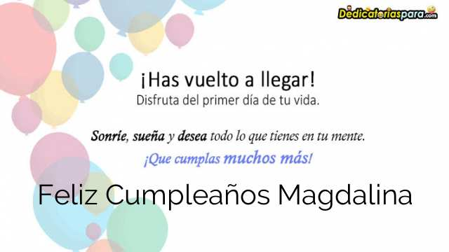 Feliz Cumpleaños Magdalina