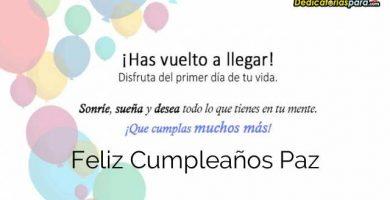 Feliz Cumpleaños Paz