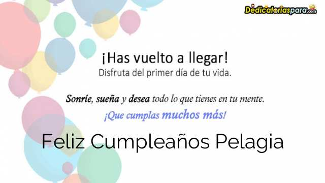 Feliz Cumpleaños Pelagia