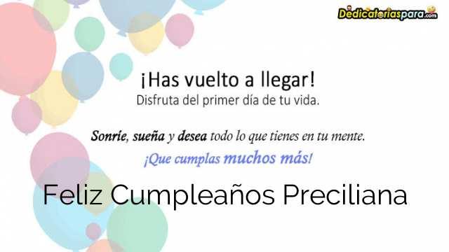 Feliz Cumpleaños Preciliana