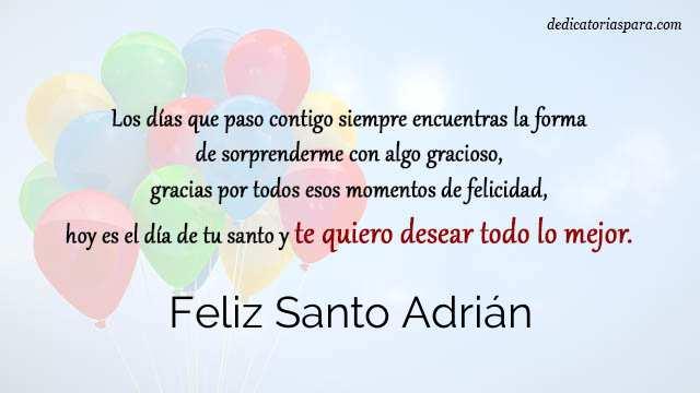 Feliz Santo Adrián