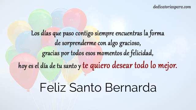Feliz Santo Bernarda