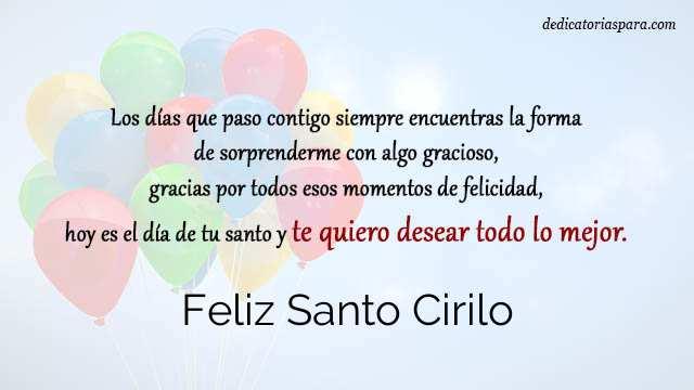 Feliz Santo Cirilo