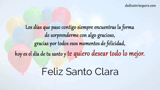 Feliz Santo Clara