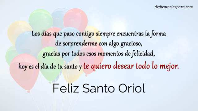 Feliz Santo Oriol