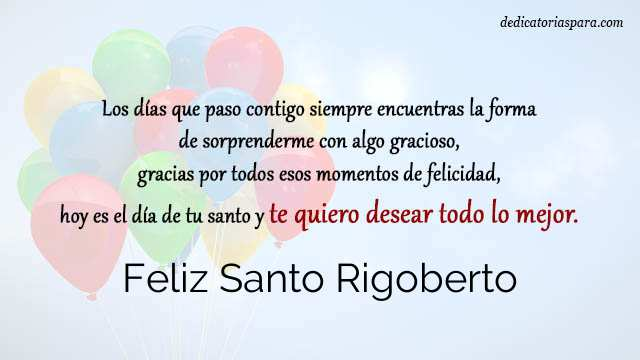 Feliz Santo Rigoberto